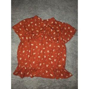 Orange forever 21 floral blouse